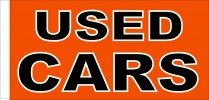 Used Cars Orange and Black Rectangular 150cm x 90cm