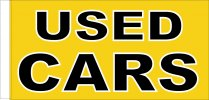 Used Cars Yellow and Black Rectangular 150cm x 90cm
